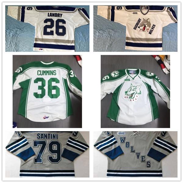Customize OHL Sudbury Wolves Jersey Mens Womens Kids 26 Steven Landry 36 Cummins 79 Santini Hockey Jerseys Goalit Cut Hot sale