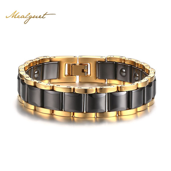 Wholesale- Meaeguet Men Black Hematite Super Strong Magnetic Health Bracelet Magnet Therapy Biomagnetic Bangles Jewelry 20cm Length