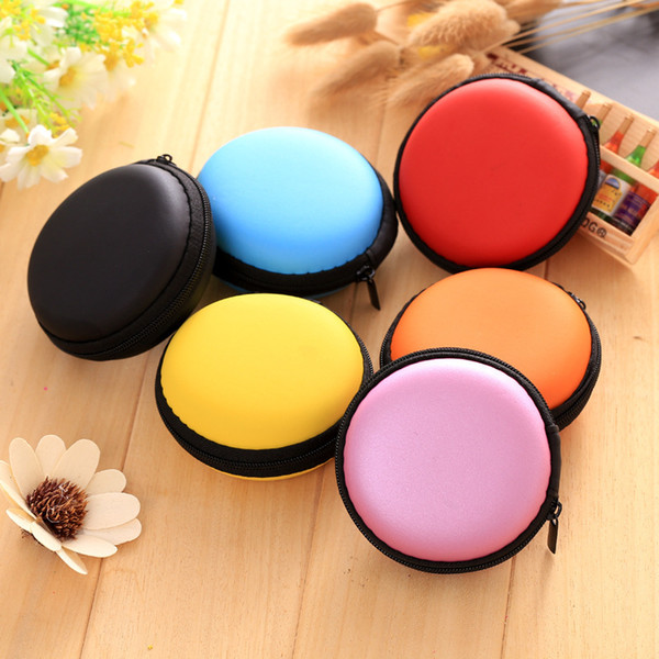 colorful Pocket Carrying Case Earphone Headphone SD Card Bag Holder Storage colorful color by fast shipping