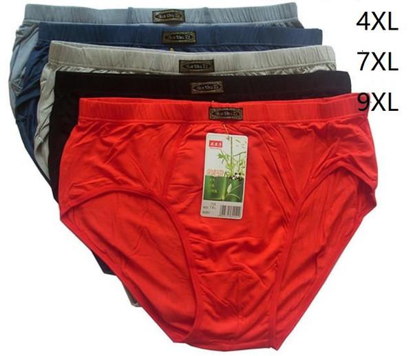 5pcs/lot Men's briefs shorts men underwear men underpants 95%bamboo fiber Solid underwear high quality 4XL,7XL,9XL Wholesales
