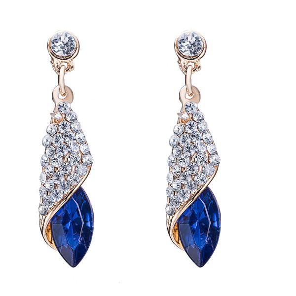 Full Rhinestone Classical Long Drop Earrings for Women Dress