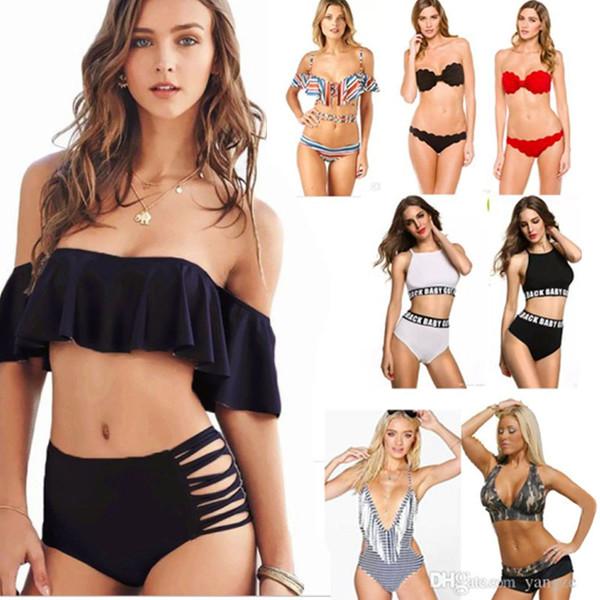 top popular Sexy Women's Bikini Set Padded Push Up Swimwear Bandeau Off Shoulder Halter Bandage Swimsuit Bathing Suit Girls Lady Beach wear S M L XL 2019