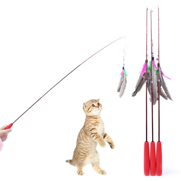 Pet Cat Toys High Elastic Carbon Fiber Electric Paint Fishing Rods Natural Pearl Feathers Three Telescopic Tease Sticks