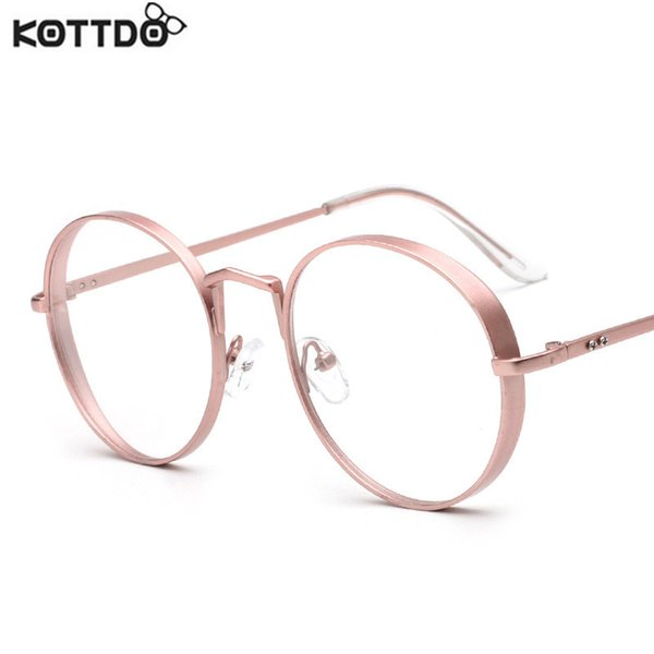 Wholesale- KOTTDO 2017 Women Glasses Frame Fashion Men  Designer Eyeglasses Frames Titanium Optical Frames Eyewear Round Vintage Lens
