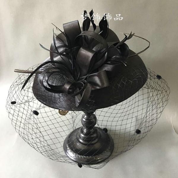 Woman headdress hair The high-end handmade bride French Black Satin Bow feather flower veil flattened head hair hat ceremony