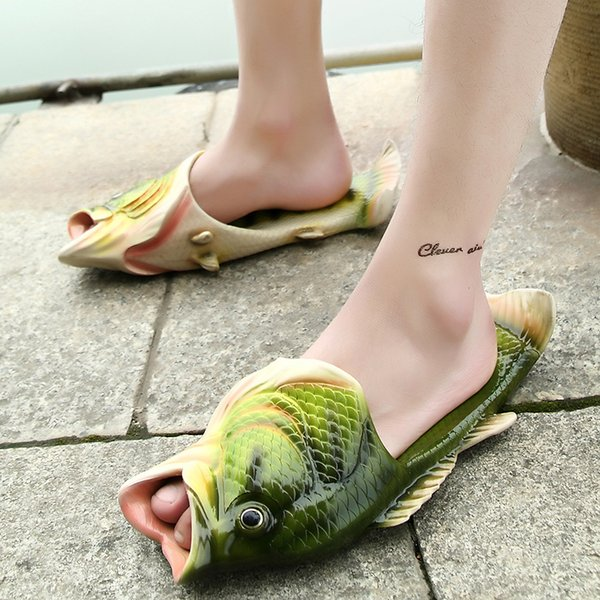 31-44 wholesale man fish beach sandals slippers new soft bottom male big fish mouth slippers family shoes fashion