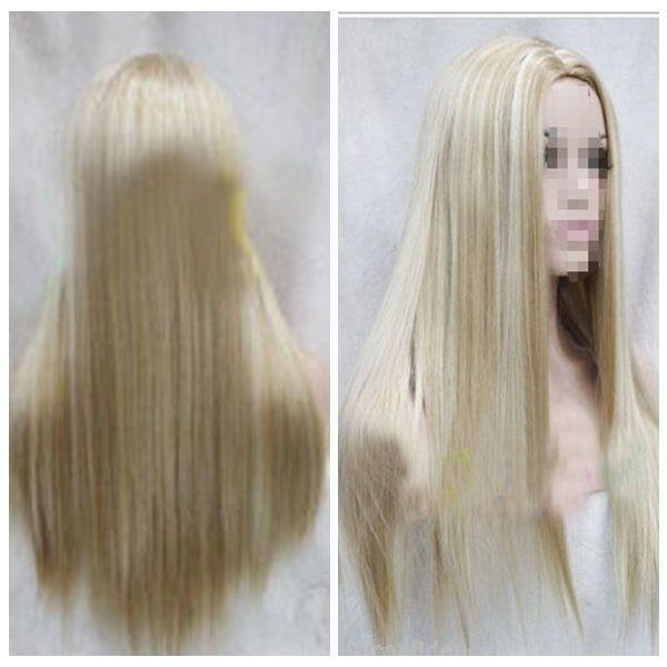 100% New High Quality Fashion Picture full lace wigs Women Long Blonde Mix Wig Straight Natural Wig Hair Full Wigs Cosplay Wigs+Cap
