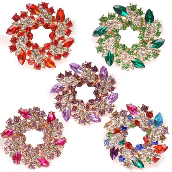 7 Styles Fashion Costume Pin Brooch Luxurious Bling Crystal Bauhinia Flower Scarf Jewelry Delicate Floral Wreath Pin Brooch B536S