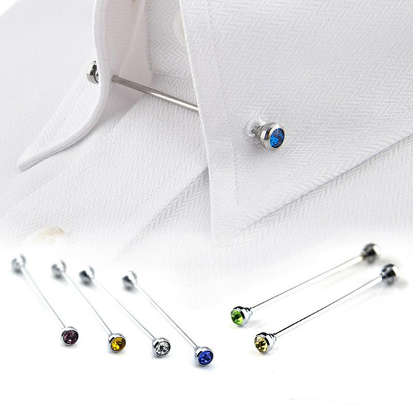 best selling Wholesale 8Pcs Silver Rhinestone Men Shirt Collar Pin Bar Brooch Tie Stick Lapen Pin Shirt with Collar Bars Jewelry tie pin
