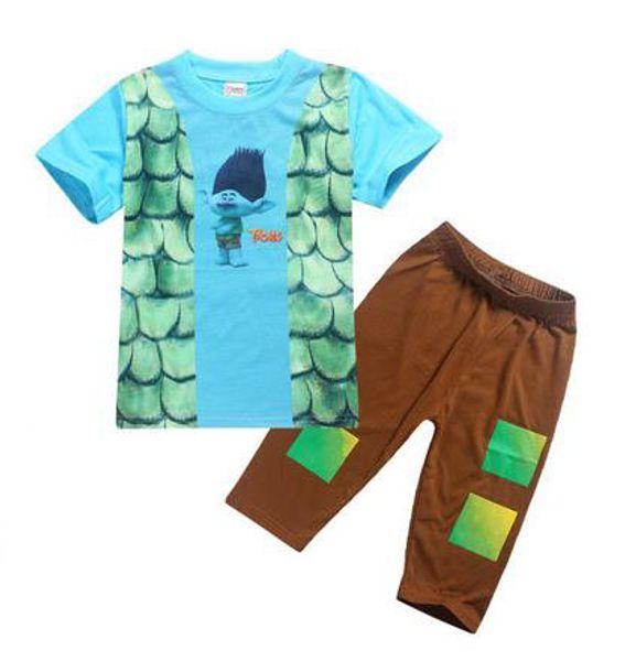 2017 Children Summer Trolls Pajamas Suit Short Sleeve T-shirts + Pants 2 Pcs Set Boys Sleeping Clothing Set Kids Clothes 13193