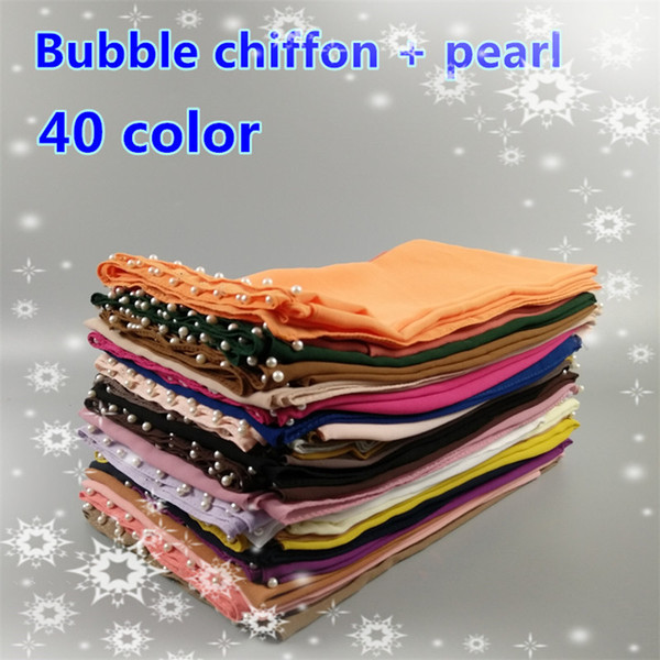 top popular 2017 high quality burst high quality white pearl pearl chiffon scarf, ladies scarf, 40 kinds of color wholesale 2020