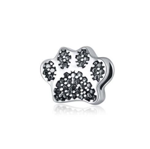 Wholesale 30pcs 925 Silver Plated European Charm Beads Bear Paw Print Charms Bead Fit Women Pandora Bracelet Bangle Diy Jewelry