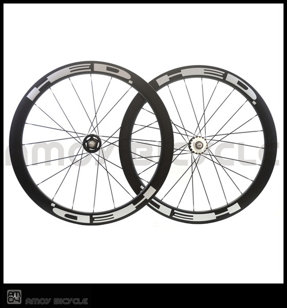 Free shipping track bike 50mm Clincher Carbon wheels with HED painting fixed gear wheels 700C wheelset fixie bike