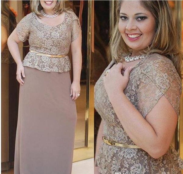 2017 Elegant Sheer Jewel Neck Mother of Bride Groom Dresses Formal Wear Gowns Plus Size Lace Appliqued Short Sleeves Mother Party Dresses
