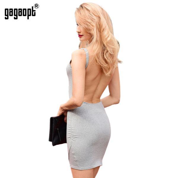 Atacado-Gagaopt 2017 vestidos de verão sem encosto vestido de festa de volta mulheres cinza sólido sexy sem mangas magro vestido de praia vestido Vestidos Robe