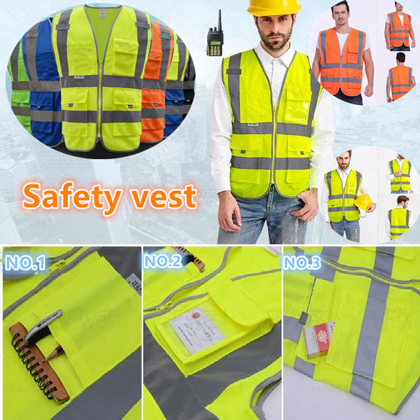 top popular High Visibility Working Safety Construction Vest Warning Reflective traffic working Vest Green Reflective Safety Clothing Men's Vests BAB53 2020