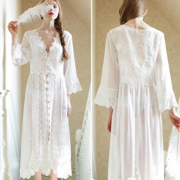 New Lace Maternity Photography Props Long Dress Royal Style Photo Shoot White Clothes for Pregnant Women Pregnancy Nightdress