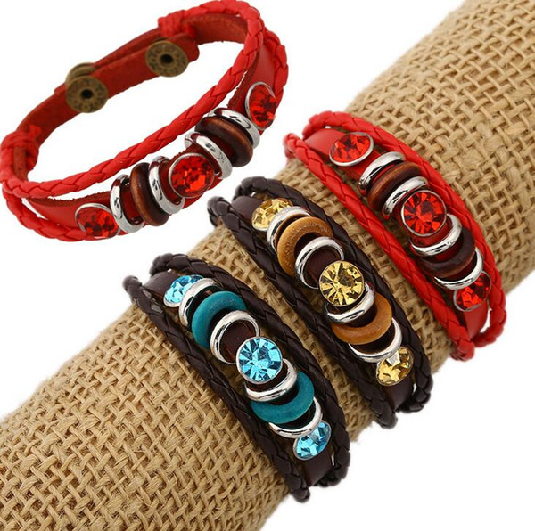 Hot sale Retro personality handmade jewelry cowhide woven hand rope bracelet FB462 mix order 20 pieces a lot Slap & Snap Bracelets