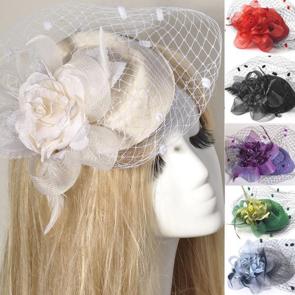 7Colors/lot Fashion GIft Lady Handmade Headwear Fascinator Pillbox Hat Hair Clip Veil Feather Flower Wedding Proms Derby Fancy Dress Party