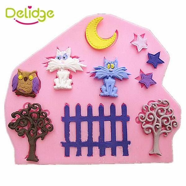 Delidge 20 шт. небольшой сад торт плесень силиконовые Cat Луна Звезда дерево заборы Сова форма помадной плесень сахара выпечки торт украшение инструмент