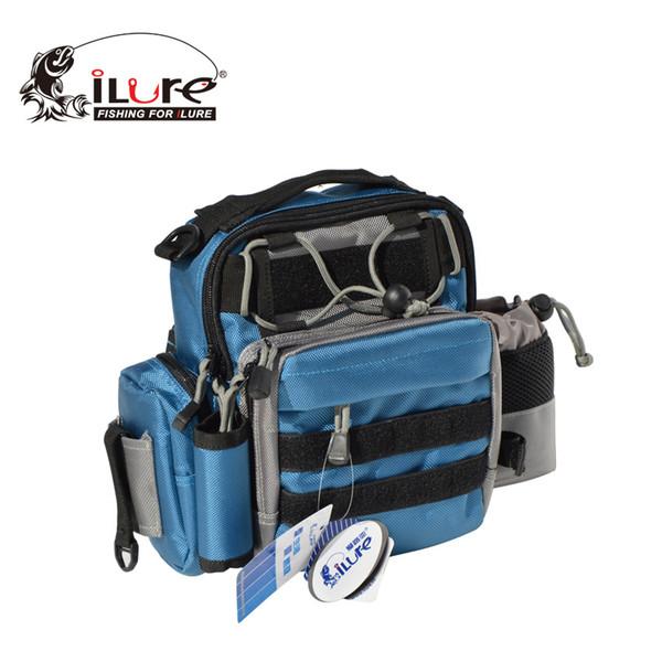 Al por mayor- Marca ilure Bolsa de pesca portátil de lona Lure Waist Pack Multifuncional Polo Paquete de aparejos de pesca de mar Bolsa con bolsa de botella