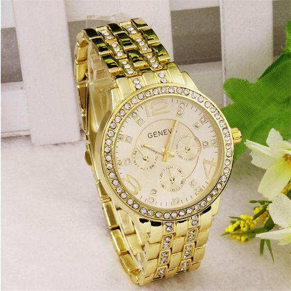 Geneva Watch New Women Men Diamond Watch Three Eyes Metal Band Analog Wristwatch Quartz Fashion Wrist Watch