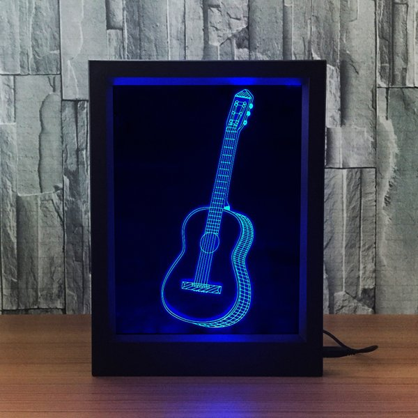 3D Guitar LED Photo Frame IR Remote 7 RGB Lights Battery or DC 5V Factory Wholesale Dropship Free Shipping