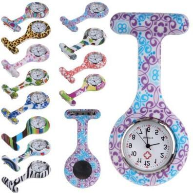 Silicone Nurse Watch Medical Nurse Watches Colorful Printed Pattern Fob Quartz Watch Doctor Watch Pocket Medical Watches CCA6670 2000pcs