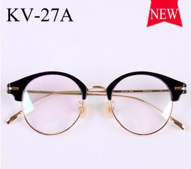Gold glass frame VINTAGE frames KV-27A half framework male ladies retro super light myopic lens