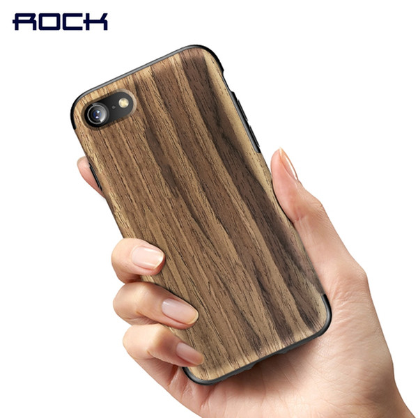 for iPhone 8 8 plus Case, ROCK Wood Grain Series for iPhone 8 Case Wooden + PU Cover case for iPhone8 plus