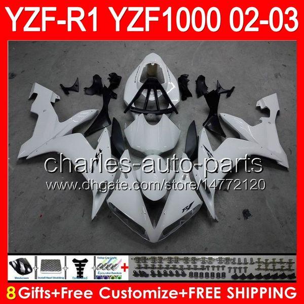 8gifts Body Per YAMAHA YZFR1 02 03 YZF1000 YZF-R1 02-03 bianco lucido 92NO9 YZF 1000 YZF-1000 YZF R 1 YZF R1 2002 2003 Carenatura bianco nero