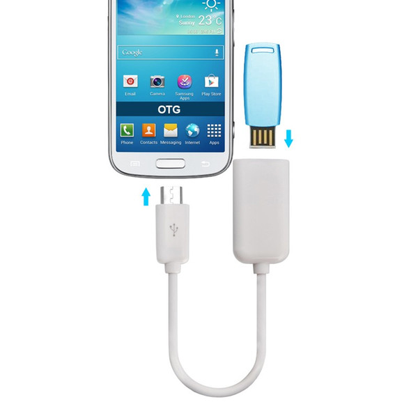 USB 2.0 Female To Micro USB Male Host OTG On-The-Go Cable Adapter Smooth Surface For Android Mobile Phone 3000Pcs
