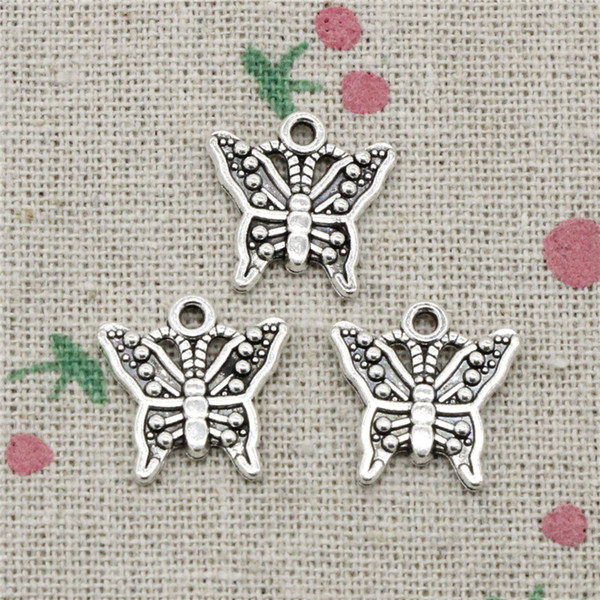 130pcs Charms butterfly 16*17mm Antique Silver Pendant Zinc Alloy Jewelry DIY Hand Made Bracelet Necklace Fitting