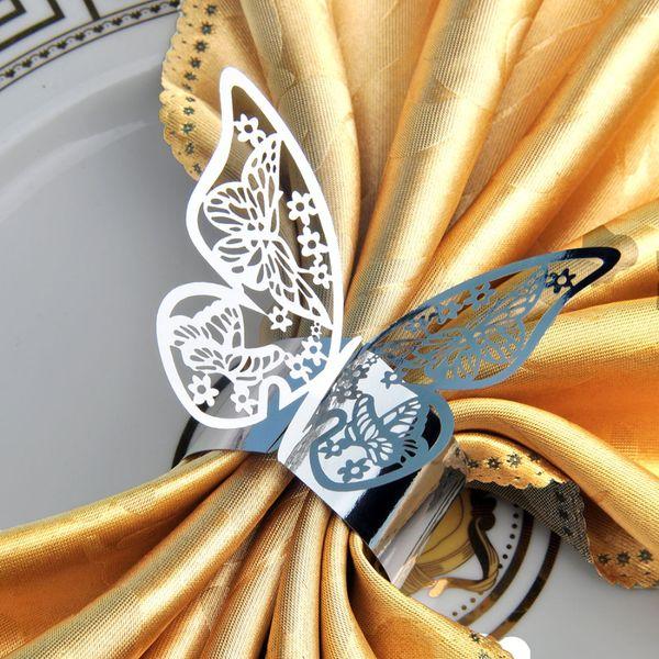 All'ingrosso- Hot 100pcs / lot Argento Laser Cut taglio di carta farfalla portatovaglioli Home Dinner Table Decoration Wedding Birthday Party Favors