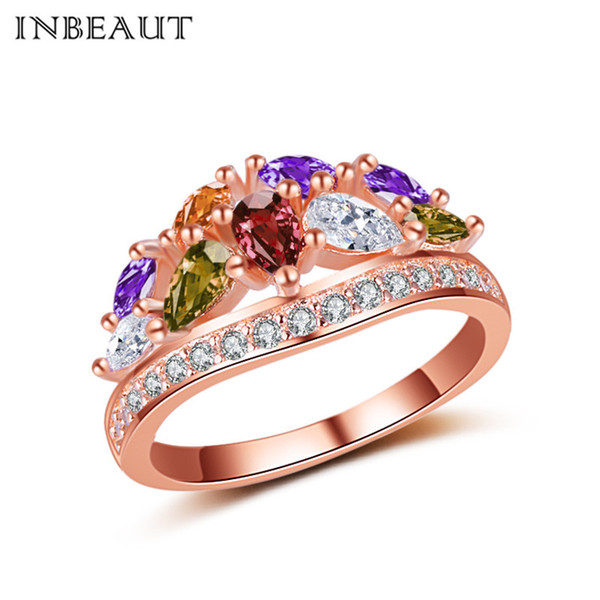 Wholesale 18KPG Rose Gold-color Colorful Crystal Crown Ring for Girls Original Princess Cut Cubic Zirconia Statement Wedding Ring