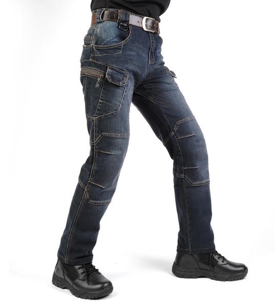 Chaud! Nouveau IX7 SWAT Militaire Style Cargo Jeans Hommes Casual Moto Denim Biker Jeans Élastique Tactique Vêtements Extérieur Armée Jeans bateau libre