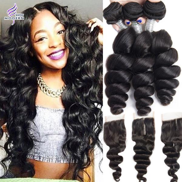 Modern Show Brazilian Loose Wave 3 Bundles with Lace Closure Brazilian Human Hair Bundles with Closure Brazilian Virgin Human Hair Weave