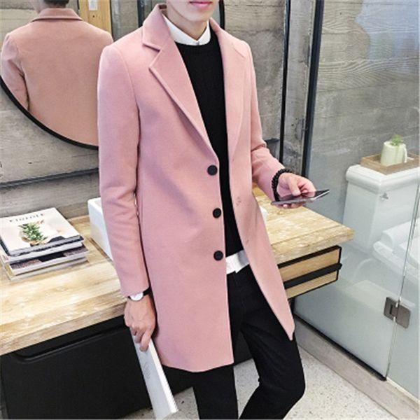 top popular Wholesale- Men's 2016 new winter coat Korean Slim tide men's long coat male British style woolen coat male tide leisure big yards 8 colors 2021
