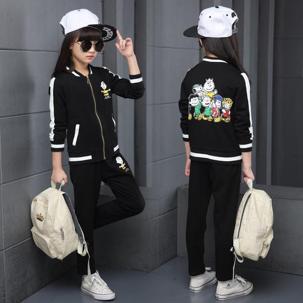 Boys Girls Spring Autumn Sportwear Kids Casual Cardigan Jacket+Long Pants 2pcs Children's Sets Hip Hop Black Cartoon Tracksuits