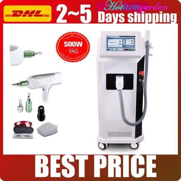 Best Price 1064nm 532nm Vertical Q Switch Nd Yag Laser Tattoo Removal RED Target Light Pigment Spot Reduce Beauty Machine 500W