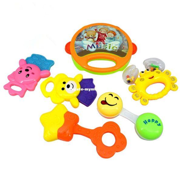 6 teile / satz Kinder Lustige Bett Spielzeug Baby Rasseln Kunststoff Hand Schütteln Glocke Ring Kinder Früherziehung Lernspielzeug