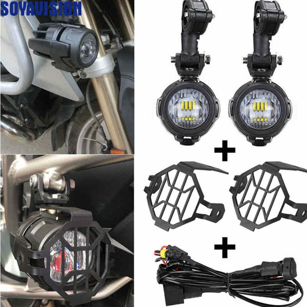 top popular Motorcycles LED Fog Light & Protect Guards with Wiring Harness For BMW R1200 GS  ADV Motorcycle Led Lights white 6000k 2021