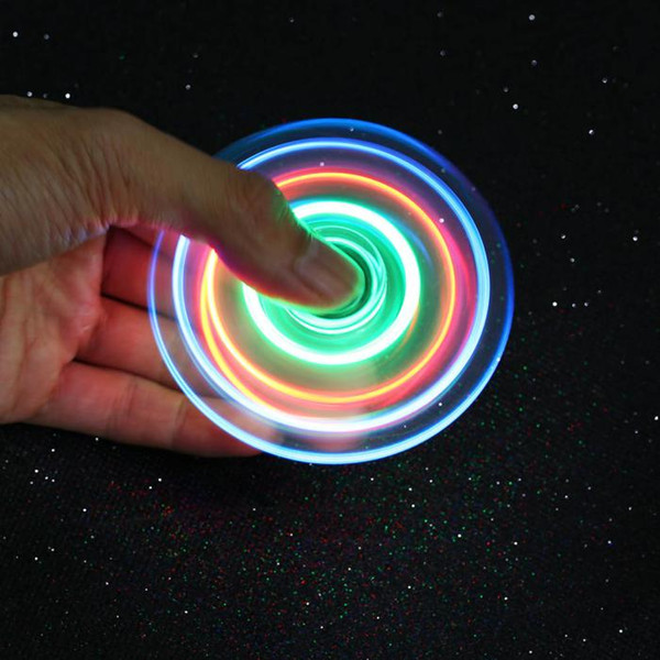 In stock New Hand Spinners LED Bright Fidget Spinner Finger Spinner Transparent Double-sided light Decompression Toys Free DHL