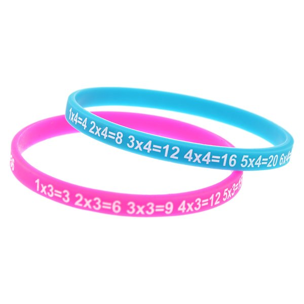 12PCS/Lot Multiplication Tables Skinny Silicone Bracelet What Better Way To Carry The Message Than With A Daily Reminder!