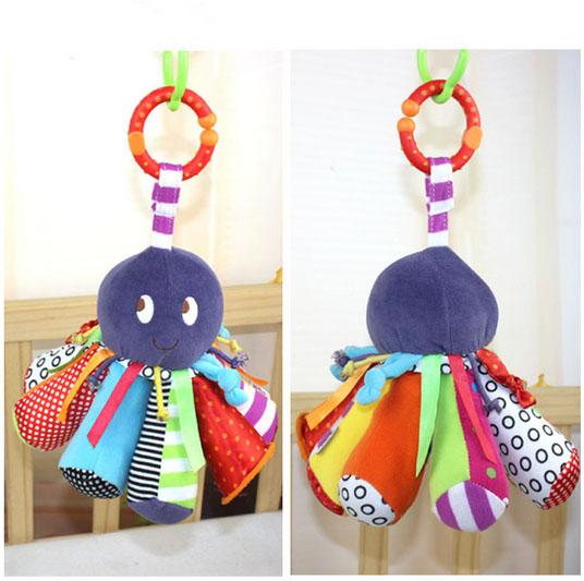 Wholesale- 23*15cm Baby Rattles Octopus hanging with sound Cute Animals Infant Baby Crib Stroller Toy 0+ month Plush Newborn Soft Play Doll