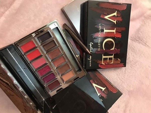 New Hot NU Blackmail Vice Lipstick Palette 12 Colors Lip Gloss Matte Lip Makeup Long Lasting Limited Edition DHL Shipping+gift