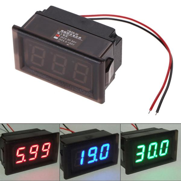 Toptan-Su Geçirmez DC 3.3-30 V LED Voltmetre Paneli Dijital Volt Metre Göstergesi Ekran Oto Araba Motosiklet 3 Renk Seçenekleri