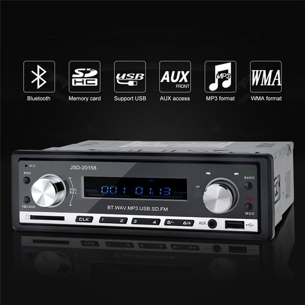 Wholesale- 12V Stereo Bluetooth Car Audio MP3 Player USB FM Radio Tuner SD AUX Media Player Hand-free With Microphone Mobile Phone Charging