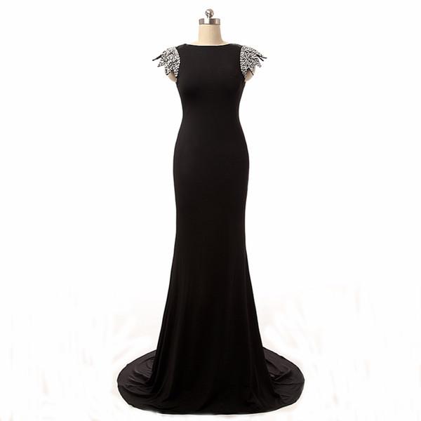 Latest Fashion Ladies Cap Sleeve Evening Mermaid Dress Sexy Open Back Black Dress Good Quality New Brand