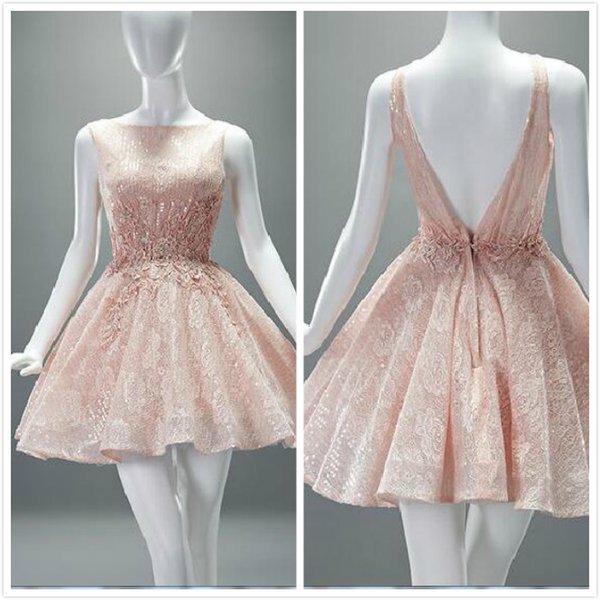 Chic Real Photos Peach Short Cocktail Dresses Lace Sheer Jewel ...